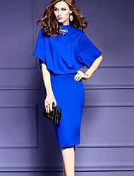 Feminino Bainha Vestido, Para Noite Tamanhos Grandes Sofisticado Sólido Colarinho Chinês Altura dos Joelhos Meia Manga Azul PretoAlgodão
