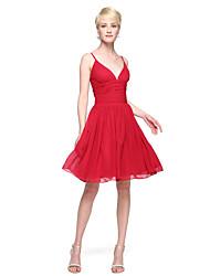 2017 Lanting Bride® Knee-length Chiffon Elegant Bridesmaid Dress - A-line Spaghetti Straps with Pleats