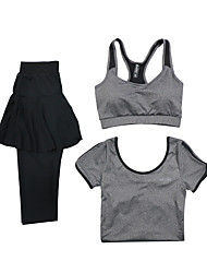 Running Sports Bra Clothing Sets/Suits Women's Short Sleeve Breathable Quick Dry Modal Polyester Yoga Exercise & Fitness RunningSports