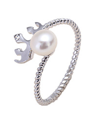 Ring Imitation Pearl AAA Cubic Zirconia Silver Pearl Imitation Pearl Zircon Silver Jewelry Daily Casual 1pc