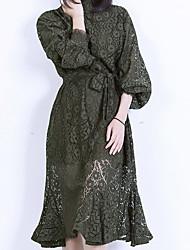 Feminino Rendas Sereia Vestido, Para Noite Praia Férias Sensual Vintage Sólido Colarinho Chinês Médio Manga Longa Preto Marrom Verde