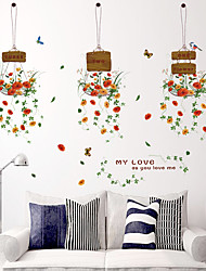 Colorful Hanging Basket Flowers Store Glass Wall Stickers Fashion DIY Living Room Wall Decals