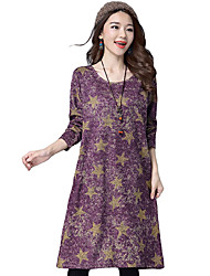 Women Loose Dress Long Sleeve Star Print Plus Size Retro Casual Long Dress