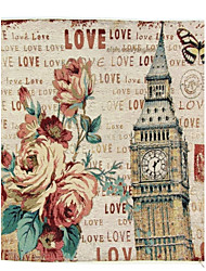 RayLineDo® Linen Cotton Square Throw Pillow Cover Rose and Big Ben Decorative Pillow Case CTJZ21-PC-BB
