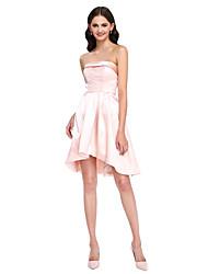 Trapèze Sans Bretelles Asymétrique Satin Elastique Robe de Demoiselle d'Honneur  avec Billes par LAN TING BRIDE®
