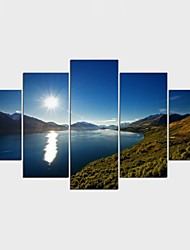 Stretched Canvas Print Landscape Floral/Botanical Style Modern,Five Panels Canvas Any Shape Print Wall Decor For Home Decoration