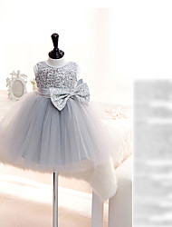 Ball Gown Short / Mini Flower Girl Dress - Organza Jewel with Lace