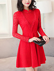 Women's Going out Vintage Lace Dress,Solid Tassel Stand Above Knee Long Sleeve Cotton Polyester Red Black Spring Mid Rise Micro-elastic