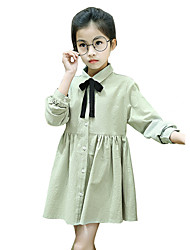 Girl's Cotton Sweet Fashion Daily/Go Out Spring/Fall Solid Color Long Sleeve Princess Dress Children Bowknot One-piece