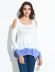 Damen Druck Sexy Lässig/Alltäglich T-shirt,Rundhalsausschnitt Sommer / Herbst Langarm Weiß Polyester Dünn