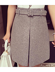 Women's A Line Solid Skirts,Going out Mid Rise Mini Button Cotton Micro-elastic All Seasons
