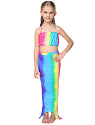Girl Ruffle Rainbow Swimwear,Cotton Polyester