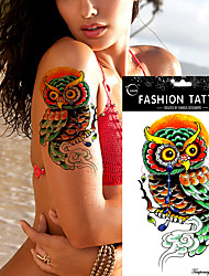 5Pc Fashion Colorful Beauty Owl Waterproof Hot Temporary Tattoo Stickers