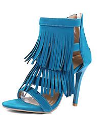 Women's Sandals Summer Club Shoes Gladiator Comfort Fleece Wedding Party & Evening Dress Stiletto Heel Zipper Tassel Black Blue Yellow