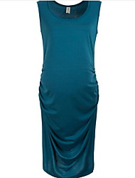 Courte Robe Femme Sortie Sexy,Couleur Pleine Col Arrondi Mi-long Sans Manches Bleu Noir Marron Gris Lin Eté Taille Normale Micro-élastique