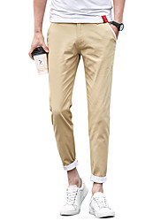 Men's Plus Size Slim Chinos Pants,Casual/Daily Work Club Vintage Simple Street chic Solid Low Rise Zipper Button Cotton Micro-elastic