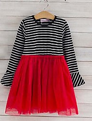 Girl's Striped Print Dress,Cotton Polyester Summer Long Sleeve