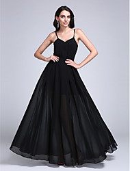A-Line Spaghetti Straps Floor Length Chiffon Prom Formal Evening Dress with Pleats by TS Couture®