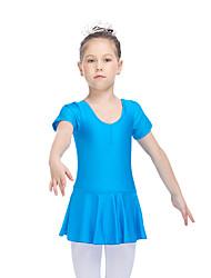 Ballet Dresses Women's Children's Training Nylon Lycra Ruffles 1 Piece Short Sleeve Dress