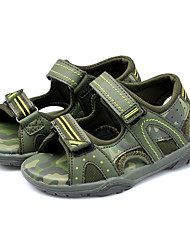 Boy's Sandals Summer Comfort Leatherette Outdoor Casual Flat Heel Braided Strap Split Joint Hook & Loop Dark Green