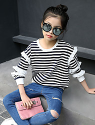 Girl's Fashion Going out Casual/Daily Holiday Stripes Tee Spring/Fall Children Cotton Long Sleeve Ruffle Shirt Color Block Blouse