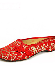 Women's Slippers & Flip-Flops Spring Summer Fall Embroidered Shoes Silk Outdoor Dress Casual Flat Heel Flower Red Other