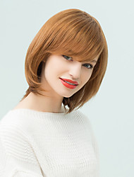 Side Bang Medium Layered Bob Straight Human Hair Wig