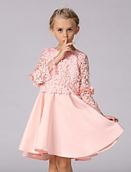 A-line Knee-length Flower Girl Dress - Organza Long Sleeve Jewel with Lace