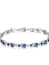 Women's Chain Bracelet Zircon Cubic Zirconia Simulated Diamond Fashion Flower Gold Silver Purple Red Blue Jewelry 1pc