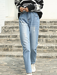 assinar buracos mendigo seção fina harem pants casuais verão coreano bf vento era fina solta calças jeans feminina