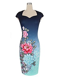 Women's Sexy Vintage Floral Print Bodycon Pencil Dress