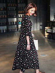 Korea early spring 2017 fashion elegant floral chiffon dress and long sections