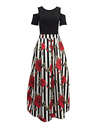 Women's Off The Shoulder Going out Holiday Sexy Vintage Off-The-Shoulder T-shirt Skirt SuitsStriped Floral Round Neck Short Sleeve Pleated Cut Out