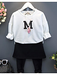 Girl Casual/Daily Beach School Solid Sets,Cotton Spring Fall Long Sleeve Clothing Set