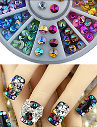 12 Colors Ogival Acrylic Rhinestones  Nail Art Decoration