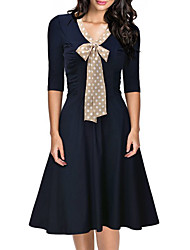 Women's Going out Sophisticated Shift Dress,Polka Dot Patchwork Bow V Neck Midi ¾ Sleeve Polyester Blue Spring Mid Rise Micro-elastic
