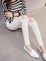 assinar Primavera e no Outono novo buraco grande nas leggings joelho denim pés elásticos calças lápis feminino
