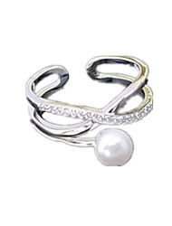 Ring Imitation Pearl AAA Cubic Zirconia Silver Stainless Steel Imitation Pearl Fashion Silver Jewelry Daily Casual 1pc