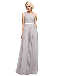 LAN TING BRIDE Bridesmaid Dress Floor-length Chiffon / Charmeuse - A-line One Shoulder with Beading / Sash