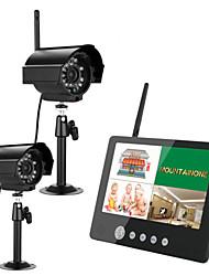 """Ennio 9 """"2.4G duas câmeras sem fio do bebê de vídeo e áudio monitora 4ch DVR quad ir luz sistema de segurança noite com mic"""
