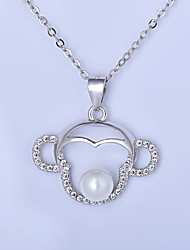 Pendant Necklaces Imitation Pearl Sterling Silver Round Basic Fashion Classic Silver Jewelry Daily Casual 1pc