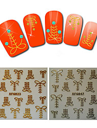 2sheet  Gold Nail Stickers Shoelace