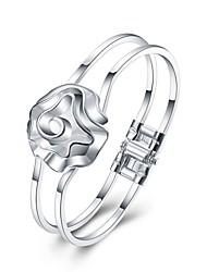 Браслеты Браслет цельное кольцо Браслет разомкнутое кольцо Медь Серебрянное покрытие В форме цветкаДружба Панк Хип-хоп Турецкий Мода