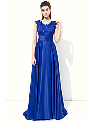A-Line Jewel Neck Floor Length Stretch Satin Formal Evening Dress with Beading Appliques by SGYJ