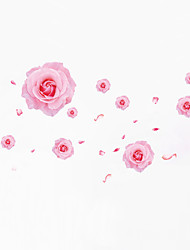 Wall Stickers Wall Decals Style Beautiful Pink Rose PVC Wall Stickers