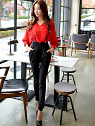 Women's Slim Chinos Overalls Pants,Going out Casual/Daily Work Vintage Cute Street chic Solid High Rise Zipper Cotton Polyester Spandex