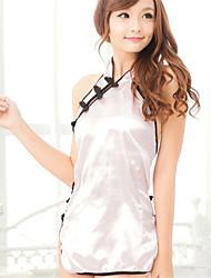Feminino Conjunto Super Sensual Uniforme e Cheongsams Roupa de Noite Tecido Seda Sintética Rosa