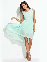 Women's Casual/Daily Simple Swing Dress,Solid Bow Round Neck Asymmetrical Sleeveless Polyester Blue Pink Black Summer Mid Rise