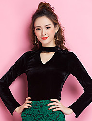 Ballroom Dance Tops Women's Training Ruffle 1 Piece Long Sleeve Natural Top