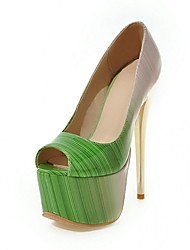 Feminino-Saltos-Conforto Inovador Light Up Shoes-Salto Agulha-Marrom Verde Rosa Vermelho-Sintético Courino Couro Ecológico-Casamento